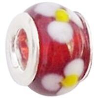 Toc Beadz Rosso Margherita 8mm Vetro da Infilare & da Sfilare Perlina