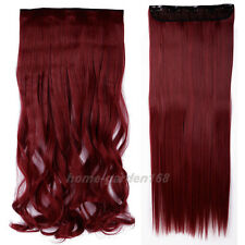 "Super Thick Long 17-30"" 120-200g Clip in Full Head Hair Extensions for human QW9"