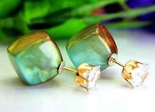 Doppio Quadrato Cubo Turquiose/Bronzo Perla Orecchini A Perno Cristallo A Sfera. 14 mm