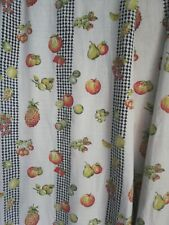 More details for vintage retro pair of funky orchard apple print curtains