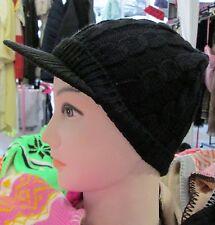 NEW Mens Womens Unisex Black peak capped beanie hat winter christmas