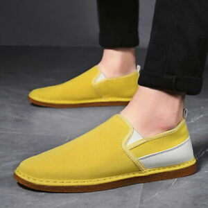 Mens Casual Comfy Slip On Loafers Pumps Breathable Driving Flats Canvas Shoes