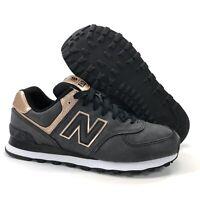 Women's New Balance 574 Size 8.5 Black Dark Grey Rose Gold Shoes WL574PMR