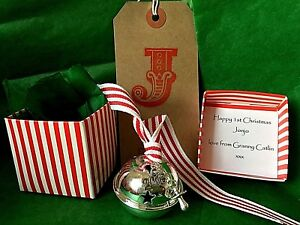 Personalised Baby's 1ST First Christmas 2021 Silver 40 50mm Bell polar gift free