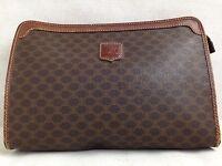 Auth Celine Clutch Macadam HAND BAG purse 5D21S540