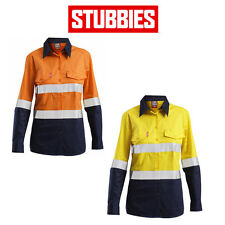 Womens Stubbies Long Sleeve Spliced Safety Shirt Cooling Workwear Hi-Vis BW2600