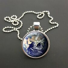 "Planet Earth Pendant On 18"" (Or Any Size)  Ball Chain Necklace Birthday Gift N36"