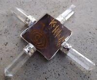 4 point amethyst quartz crystal generator~reiki and pentagram symbols