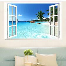 3D Fenêtre Plage Mer Autocollant Maison Décoration Mural Sticker Adhésif Déco