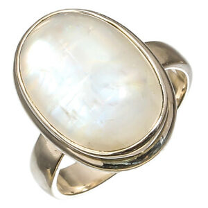 Rainbow Moon Stone Natural Gemstone Sterling Silver Jewelry Ring 5.75