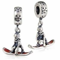 S3649 Sterling Silver Dangling Snowboarder Bead for European Charm Bracelet