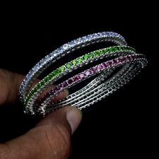 Round 2.5mm Rhodolite Chrome Diopside Tanzanite 925 Sterling Silver Bangle