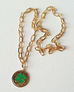 Gold Four Leaf Clover Green Pendant Chain Necklace 90s Other Bloggers Stories