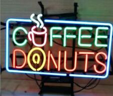 "Coffee Donuts Neon Lamp Sign 17""x14"" Bar Light Garage Cave Glass Artwork"
