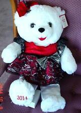 "2014 WalMART CHRISTMAS Snowflake TEDDY BEAR White Girl 20"" Red/Black Dress NWT."