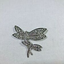 Two Dragonfly Brooch Pin Silver Tone Rhinestone Pre Owned Unbranded