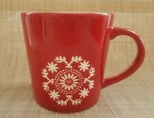 STARBUCKS 2006 Red with Embossed  White Floral Design 16 OZ Coffee Mug