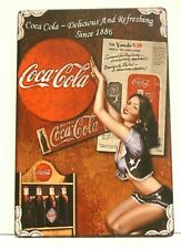 Coca Cola Coke Tin Sign Rustic Vintage Advertisement Style Diner Soda Pinup Girl