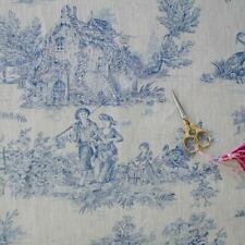 Lin Toile de Jouy impression bleue sur écru French Fabric