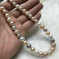 "18"" AAA++ 10-9MM SOUTH SEA NATURAL multicolor PEARL NECKLACE 14K CLASP"