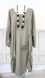 EG 50 52 54 Moonshine Fashion Lagenlook Stretch Kleid BEIGE Raffungen Blüte NEU