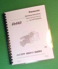 "Laser 8.5X11"" Panasonic Aj-Hpx3000G Video Camera 198 Page Owners Manual Guide"