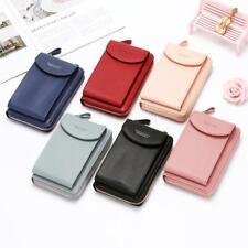 Damen Brieftasche einfarbige Lederriemen Umhängetasche Handy