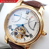 NEW Mens Flywheel Open Heart Date Day Luxury Skeleton Automatic Mechanical Watch