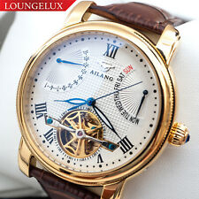 Mens Gold Automatic Mechanical Watch White Dial Date Day Brown Leather Deployant