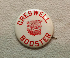 """CRESWELL HS Oregon High School BULLDOGS Booster PIN Vintage PINBACK 2 """" Button"""