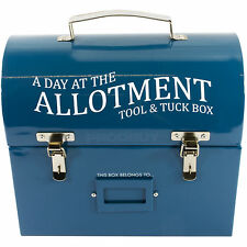 Retro Enamel Blue Allotment Gardening Tool & Tuck Lunch Food Box Storage Tin