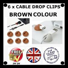 6 X BROWN Cable Drop clip desk tidy organiser wire cord lead USB CHARGER HOLDER