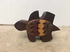 Wooden Turtle Puzzle Trinket Box nice preowned take a L@@K!