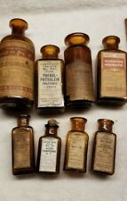 Lot Of Eight Parke Davis Original Labels Pharmaceutical Medicine Bottles Lot # 3