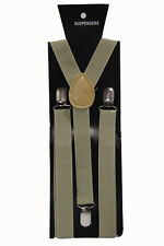 Champagne Adjustable Braces Suspenders Mens Women Fancy Dress Clip On Slim 2.5