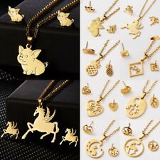 Fashion Gold Stainless Steel Jewelry Set Women Ladies Necklace Earrings Jewelry