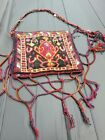 Antique Handmade Used Wool Bag Rug Carpet, Shabby Chic,Size:1.2 By 1 Ft
