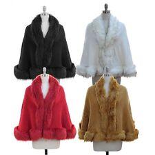 Faux Fur Cape Fit M L XL 1X 2X Plus Wrap Shawl Red Knit Cloak Poncho Sweater NWT