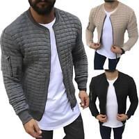 Stylish Men Slim Bomber Jacket Bike Motorcycle Coat Zip Outwear Streetwear Tops