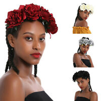 Fairy Women Rose Flower Wreath Crown Headband Beach Floral Garlands Hair Band XE
