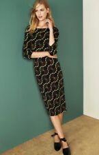 Bnwt🌹Next🌹Size 16 Petite Black Geometric Print Shift Dress Work Evening Office