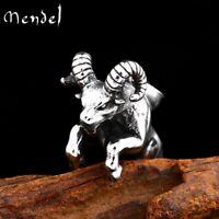 MENDEL Mens Solid Animal Zodiac Aries Ram Pendant Necklace Stainless Steel Men