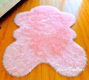"48"" x 58"" Baby Pink Nursery Room Bedroom Decor Faux Fur Sheepskin Shag Plush Rug"