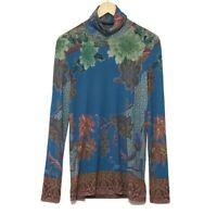 Etro Blue Floral Print Wool Blend Turtleneck Sweater Size 42