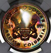 1971 BC Canadian Silver Dollar-NGC SP66 Rainbow Toned -tone #2