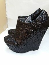 Koi Couture Black Wedge Sequin Glittery Ankle Boots With Zip Fastening Size UK 6