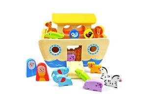 Noah's Ark Wooden Set + Shape Sorter - 18 Pieces | Tooky Toy | Noahs | Free Post