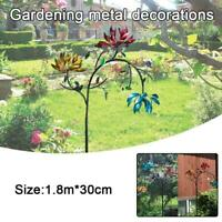 Large Metal Wind Spinner W/ Three Spinner Flowers And Butterfly Windmill u k