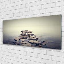 Glasbilder Wandbild Druck auf Glas 125x50 Steine Wasser Landschaft