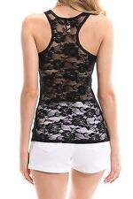 NEW SEXY Lace Racerback Ribbed Solid Tank Top Sleeveless Shirts